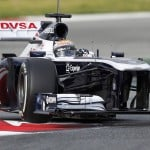 Williams Formula One driver Pastor Maldonado of Venezuela takes a curve during a training session at the Circuit de Catalunya racetrack in Montmelo