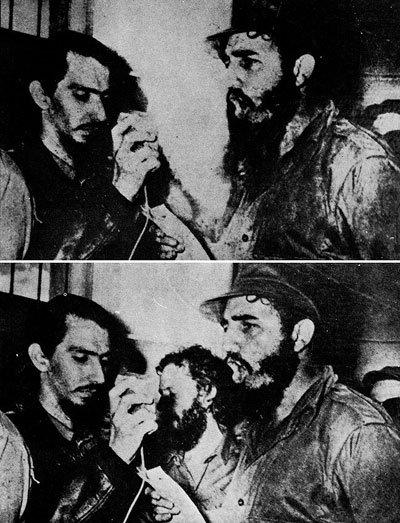 """Aquí tenemos otro ejemplo de que efectivamente muchos años antes de la tecnología de retoque digital ya había especialistas positivadores capaces de retocar, montar o incluso hacer desaparecer a personas que """"alguien"""" no quería que apareciesen a su lado, como en este caso en el que eliminan a Carlos Franqui de una foto en la que salía con Fidel Castro."""