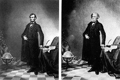 Otra de las que más veces me he encontrado es el famoso retrato de Lincoln, que en realidad no es tal, porque simplemente han puesto su cabeza en el cuerpo de John Calhoun, de quien era la fotografía original.