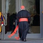 Canadian Cardinal Thomas Christopher Collins arrives for a meeting at the Synod Hall in the Vatican