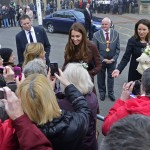 Britain's Catherine, Duchess of Cambridge speaks with well-wishers as she leaves the National Fishing Heritage Centre in Grimsby, in northern England