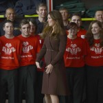 Britain's Catherine, Duchess of Cambridge meets Princes Trust volunteers during a visit to Peak Lane fire station in Grimsby
