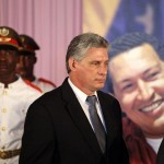 Newly-elected Cuban First Vice President Miguel Diaz-Canel attends a tribute in honor of the late President Hugo Chavez at Cuban independence hero Jose Marti's memorial in Havana