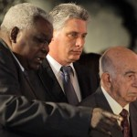 Cuba's newly-elected First Vice President Diaz-Canel, Second Vice President Machado Ventura and President of the National Assembly Lazo attend tribute for the late President Hugo Chavez in Havana