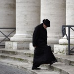 Cardinal Raymond Leo Burke of the U.S. arrives for a meeting at the Synod Hall at the Vatican
