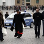Cardinal Jozef Tomko of Slovakia arrives for a meeting at the Synod Hall at the Vatican