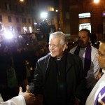 Cardinal Jorge Urosa Savino of Venezuela arrives to conduct a Mass in honor of the late Venezuelan President Hugo Chavez in Rome