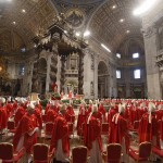 Cardinals leave after a mass in St. Peter's Basilica at the Vatican