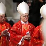 Cardinals Scherer of Brazil leaves after a mass in St. Peter's Basilica at the Vatican