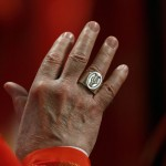 A ring is seen on a Cardinal's hand during a mass in St. Peter's Basilica at the Vatican