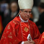 Cardinal Roger Mahony of the U.S. leaves after a mass in St. Peter's Basilica at the Vatican