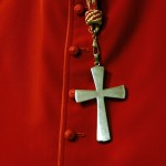 A cross is seen on a Cardinal cassock during a mass in St. Peter's Basilica at the Vatican