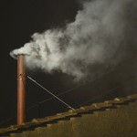 White smoke rises from the chimney on the Sistine Chapel indicating that a new pope has been elected at the Vatican