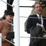 Britain's Prince William and his wife Catherine, Duchess of Cambridge arrive at the Cheltenham Festival horse racing meet in Gloucestershire, western England