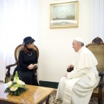 Argentine President Cristina Fernandez speaks with newly elected Pope Francis during a private meeting at the Vatican