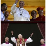 Combo picture shows newly elected Pope Francis, and his predecessor Pope Benedict XVI, waving from a balcony of St. Peter's Basilica in Vatican City