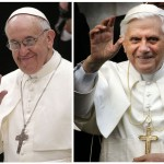 Combo picture shows Pope Francis waving as he arrives in the Paul VI Hall, and his predecessor Pope Benedict XVI greeting the crowd outside his residence in the Vatican