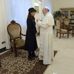 Newly elected Pope Francis meets Argentine President Cristina Fernandez de Kirchner at the Vatican City