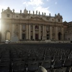 Chairs are in place in Saint Peter's Square at the Vatican, one day before Pope Francis' inaugural mass