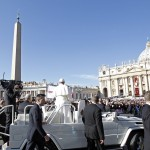 Pope Francis arrives in Saint Peter's Square for his inaugural mass at the Vatican
