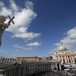 Crowds fill Saint Peter's Square for the inaugural mass of Pope Francis at the Vatican