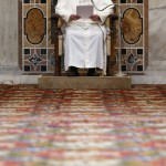 Pope Francis delivers his message during an audience with the diplomatic corps at the Vatican