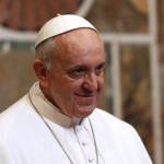 Pope Francis looks on during an audience with the diplomatic corps at the Vatican