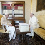Pope Francis talks with Pope Emeritus Benedict XVI at the Castel Gandolfo summer residence, south of Rome