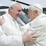 Pope Francis embraces Pope Emeritus Benedict XVI as he arrives at Castel Gandolfo summer residence