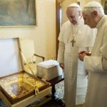 Pope Francis exchanges gift with Pope Emeritus Benedict XVI at the Castel Gandolfo summer residence