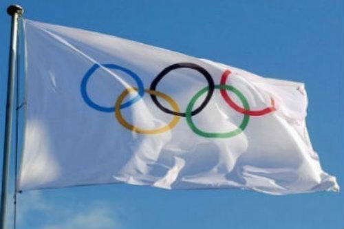 La bandera de los aros olímpicos