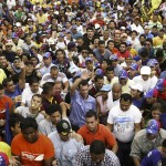 Venezuela's opposition leader and presidential candidate Capriles greets supporters during a rally in Maracaibo