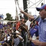 Venezuela's opposition leader and presidential candidate Capriles speaks to supporters during a rally in Maracaibo