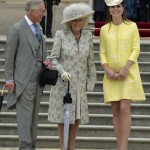 Britain's Catherine, Duchess of Cambridge poses with Camilla, Duchess of Cornwall and Prince Charles during a garden party at Buckingham Palace in London