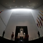 Visitors walk inside the mausoleum of Venezuelan national hero Simon Bolivar in Caracas