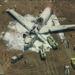 KTVU image of a Boeing 777 after crashed landing at San Francisco International Airport