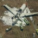 KTVU image of a Boeing 777 after crashed landing at San Francisco International Airport