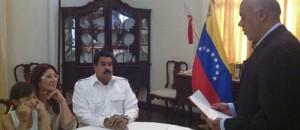Venezuela's President Nicolas Maduro and first lady Cilia Flores participate in a civil wedding ceremony in Caracas