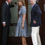 Michael and Carole Middleton are greeted by lead clinician Jonathan Ramsey as they arrive at the Lindo Wing of St Mary's Hospital the day after their daughter, Britain's Catherine, Duchess of Cambridge, gave birth to a baby boy, in London