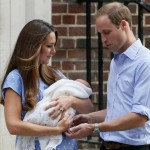 Britain's Prince William and his wife Catherine, Duchess of Cambridge appear with their baby son, as they stand outside the Lindo Wing of St Mary's Hospital, in central London