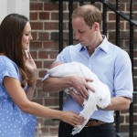 Britain's Prince William and Catherine, Duchess of Cambridge hold their baby boy outside of the Lindo Wing of St Mary's Hospital, in London