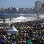 Catholic faithful camp out on Copacabana Beach to participate in an all-night vigil before Pope Francis gives mass to those attending the World Youth Day, in Rio de Janeiro