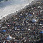 Catholic faithful camp out on Copacabana Beach to participate in an all-night vigil before Pope Francis gives mass to those attending World Youth Day, in Rio de Janeiro