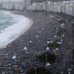 Catholic faithful camp out on Copacabana Beach in Rio de Janeiro