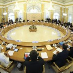Russian President Putin delivers his opening speech during the first working session of the G20 Summit in Constantine Palace in Strelna near St. Petersburg