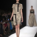 A model presents a creation from the Carolina Herrera Spring/Summer 2014 collection during New York Fashion Week