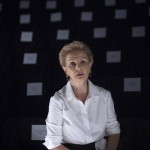 Designer Carolina Herrera waits for a run though before the presentation of her Spring/Summer 2014 collection during New York Fashion Week