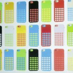 The five colors of the new iPhone 5C and the new cases for the phone are seen at Apple Inc's media event in Cupertino