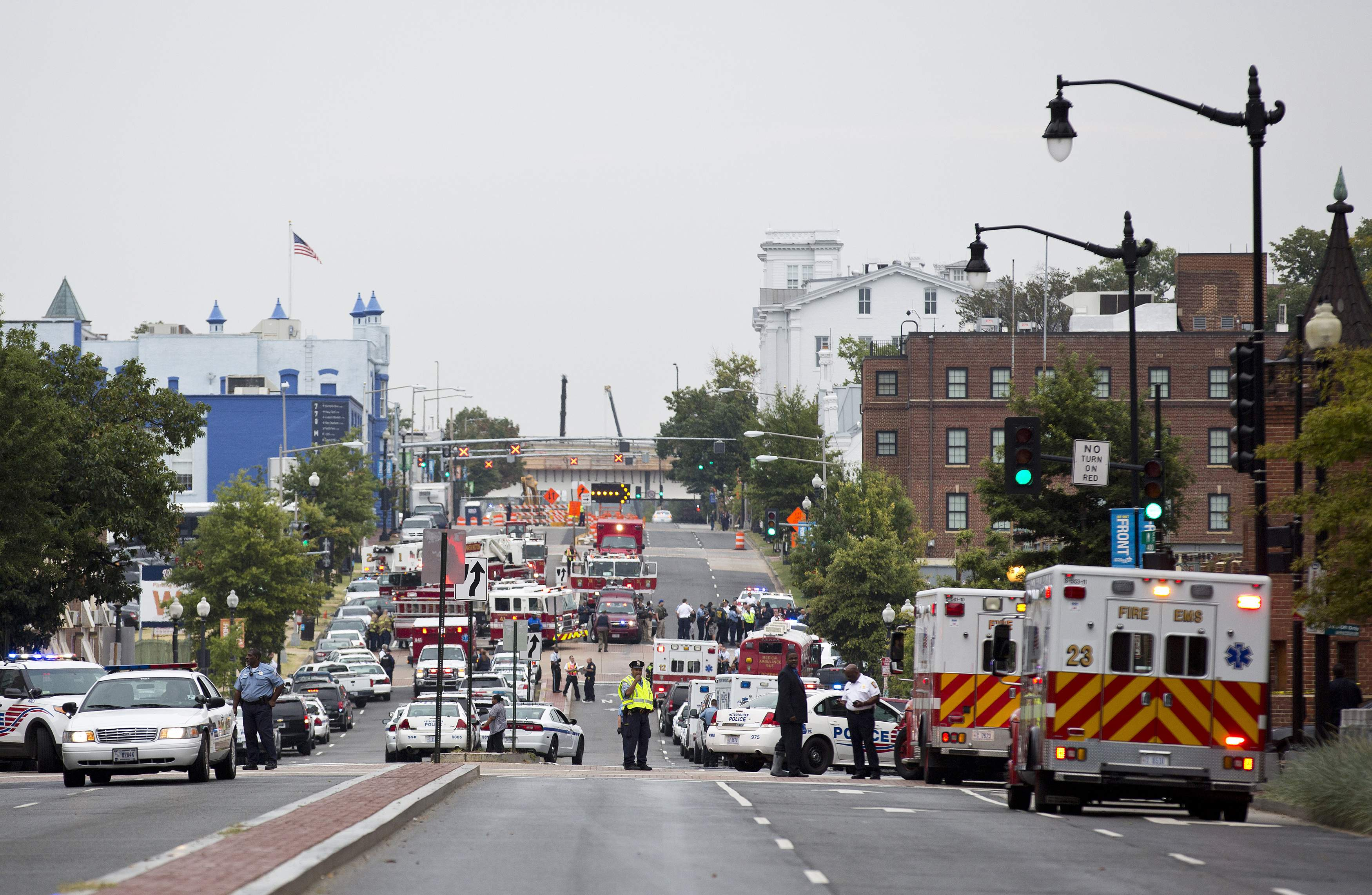 Police block off M Street, SE as they respond to a shooting at the Washington Navy Yard, in Washington