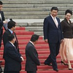 Chinese President Xi Jinping and his wife Peng Liyuan attend a welcoming ceremony for Venezuela's President Nicolas Maduro  outside the Great Hall of the People in Beijing